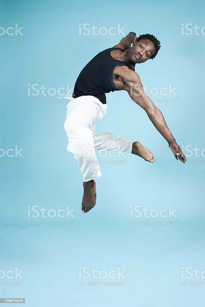 Leaping through the air royalty-free stock photo