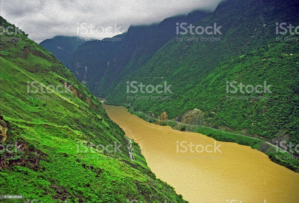 leaping tiger gorge, yunnan, china, oil paint stylization stock photo