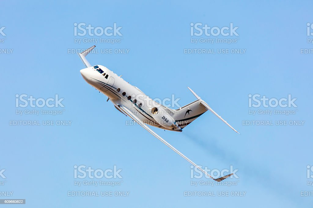 Lear Jet at the Rand Airshow in action stock photo