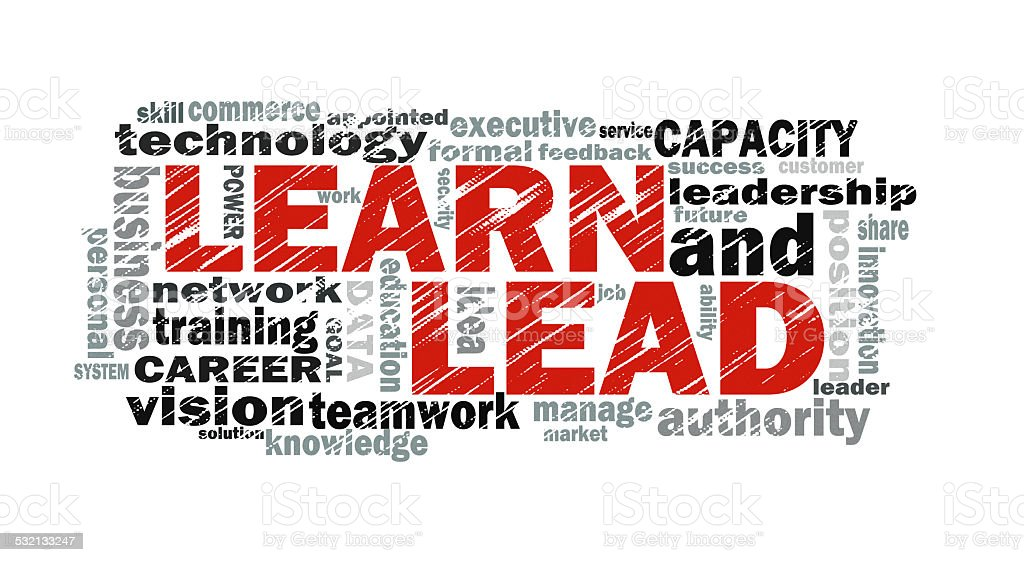 learn and lead word cloud stock photo