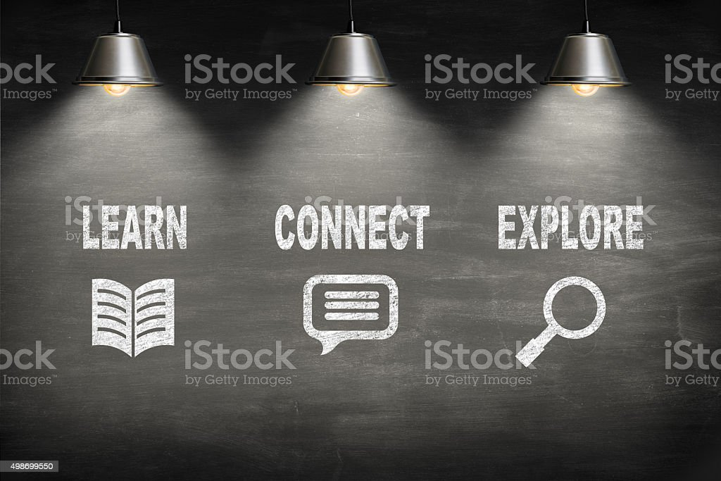 learn connect explore on blackboard stock photo