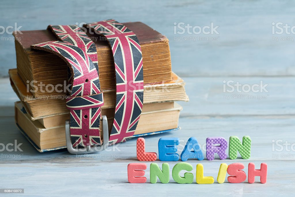 Learn english education concept with books and letters stock photo