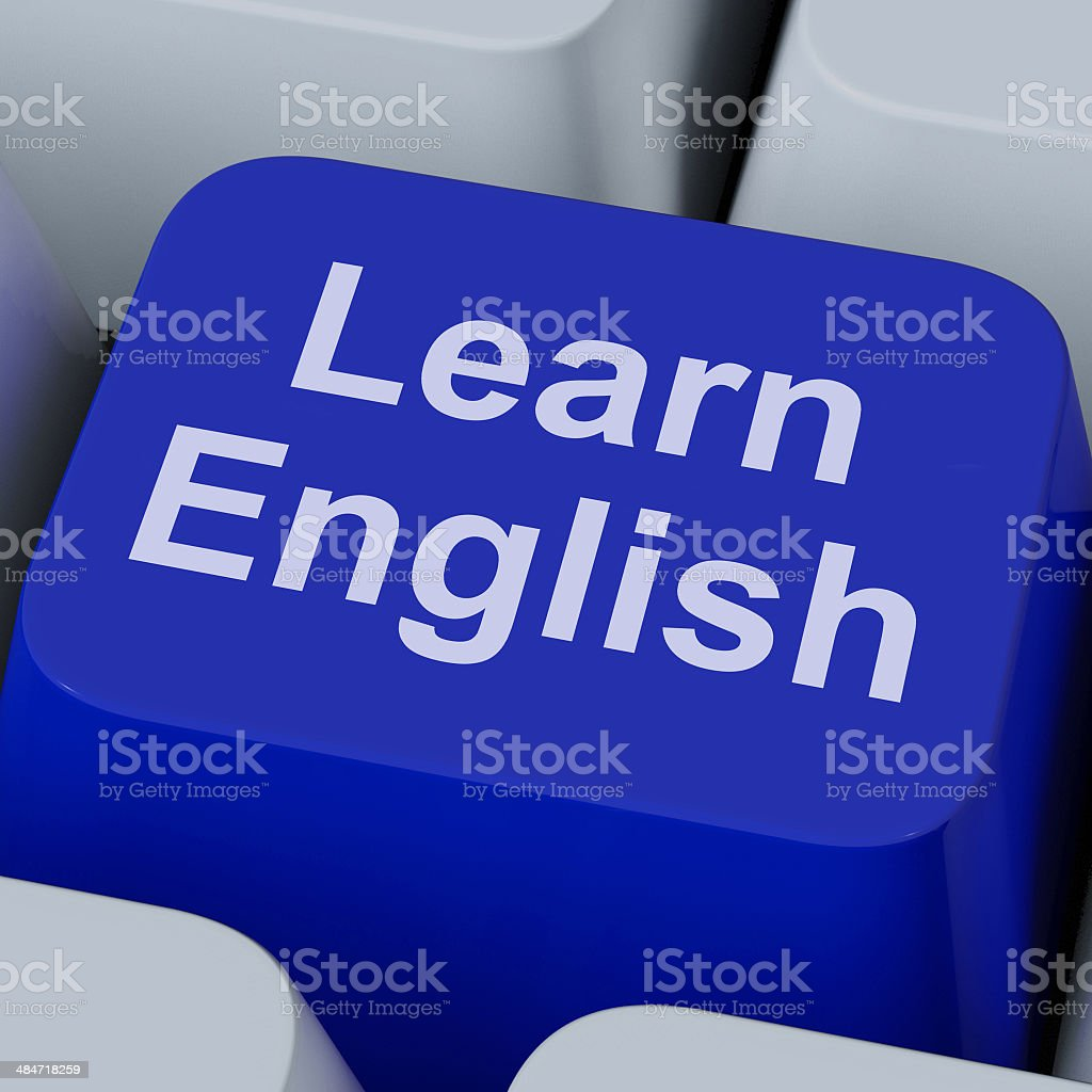Learn English Key Shows Studying Language Online stock photo