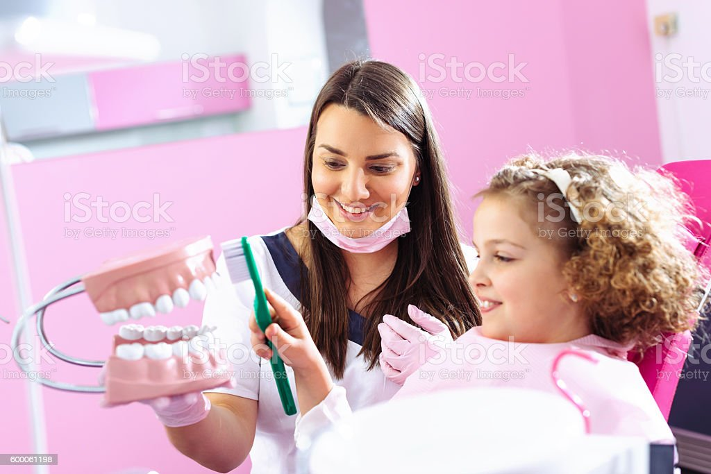 Learn how to brush your teeth stock photo