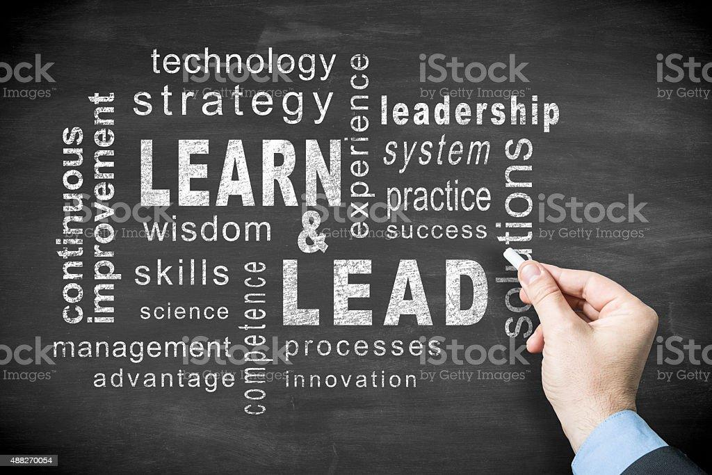 Learn & Lead  word cloud on blackboard stock photo