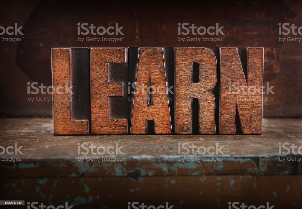 Learn - Letterpress letters royalty-free stock photo