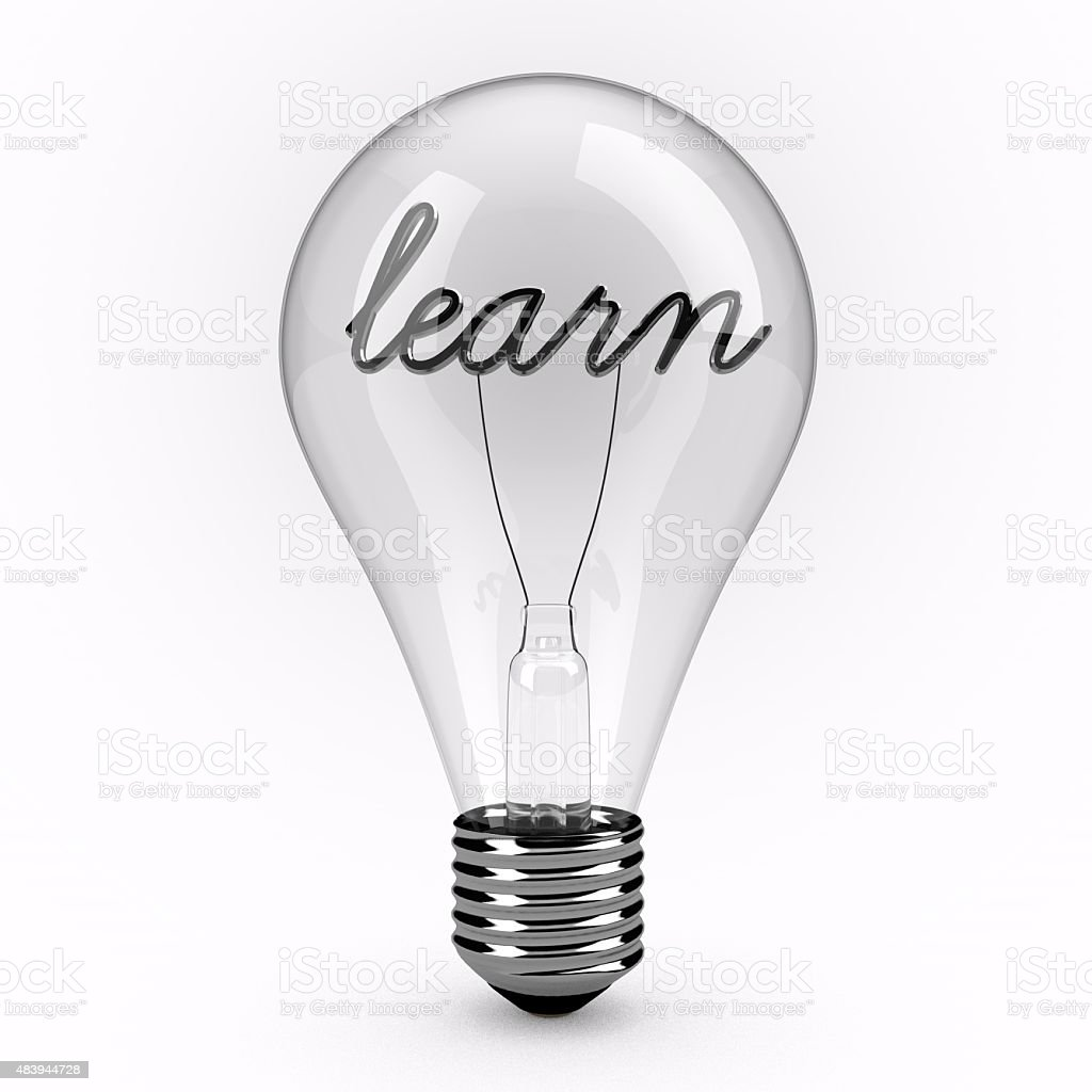 Learn lightbulb stock photo