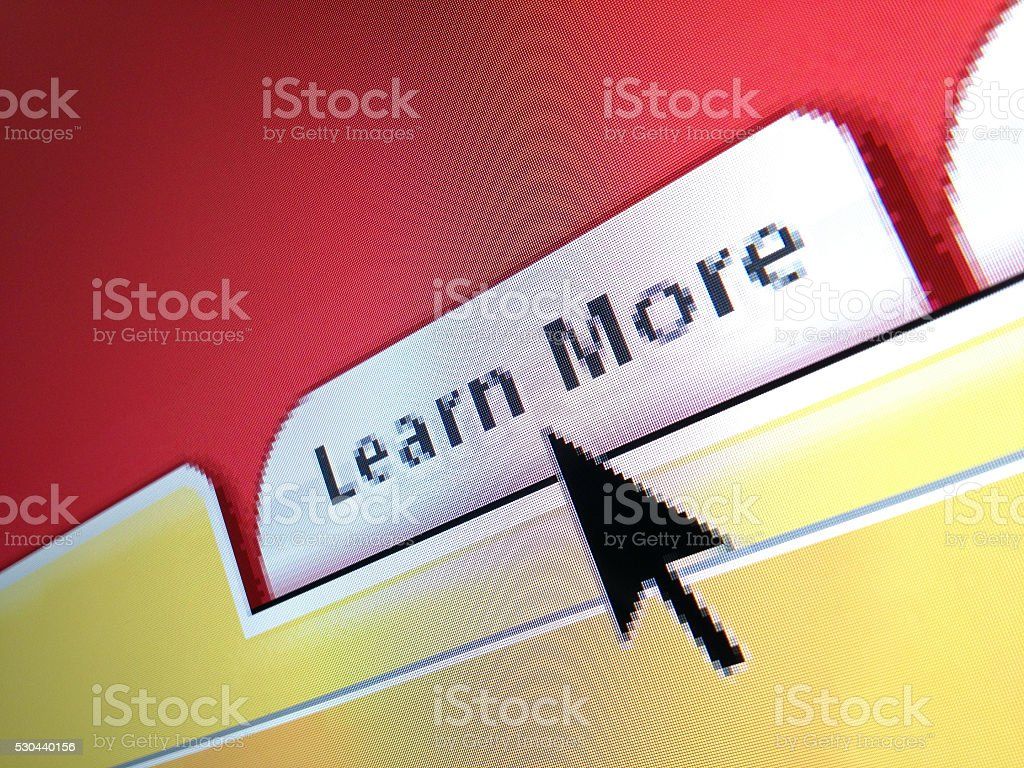Learn More login web button and mouse arrow computer screen stock photo