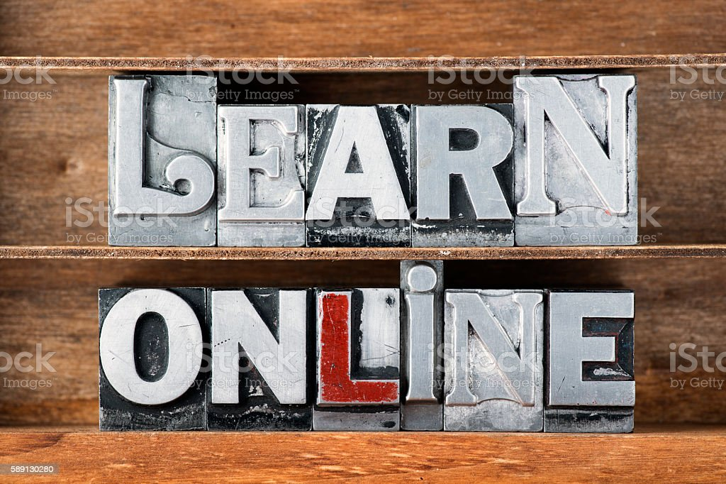 learn online tray stock photo