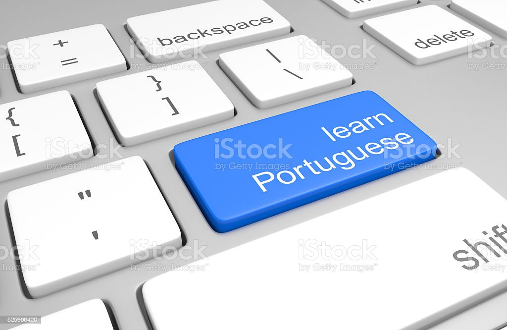 Learn Portuguese key on computer keyboard for online language classes stock photo