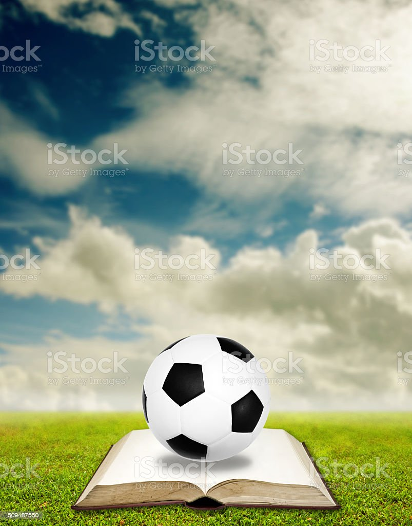 Learn to play football, Sport education concept stock photo