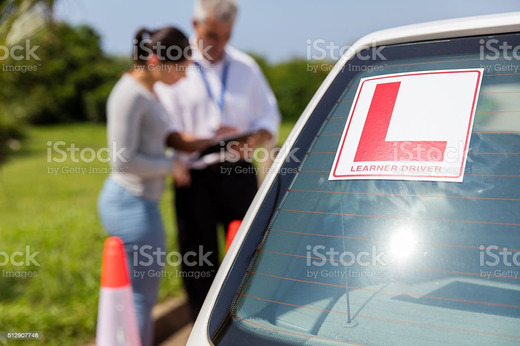 learner driver sign on a car stock photo