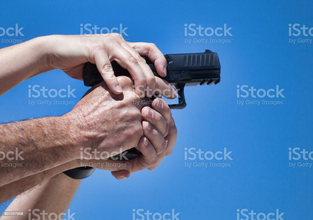 Learnign a new grip stock photo