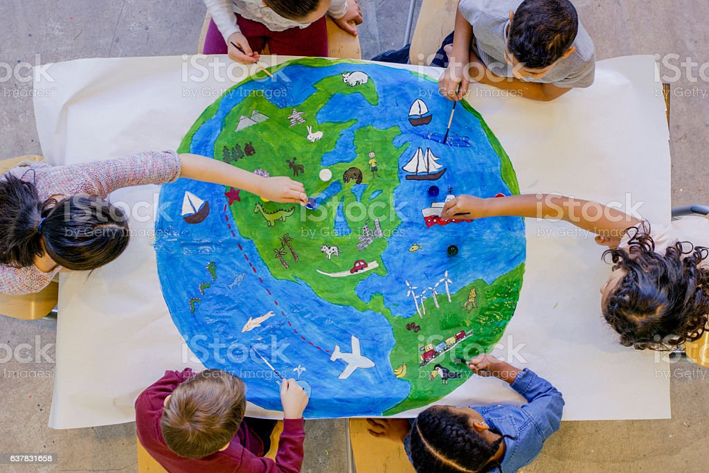 Learning about Earth stock photo