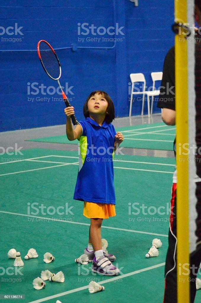 Learning badminton stock photo