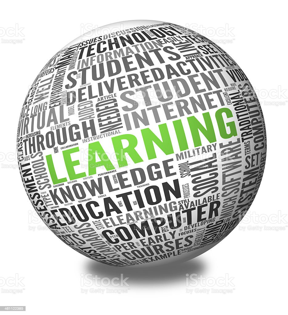Learning concept in word tag cloud stock photo