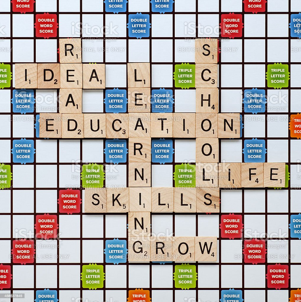 Learning Concepts within Scrabble stock photo