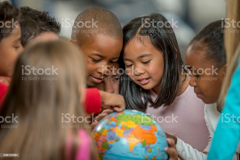 Learning Geography by Looking at the World stock photo