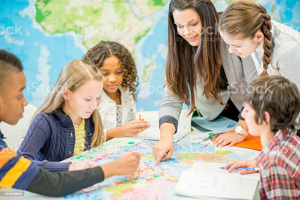Learning Geography in Class stock photo