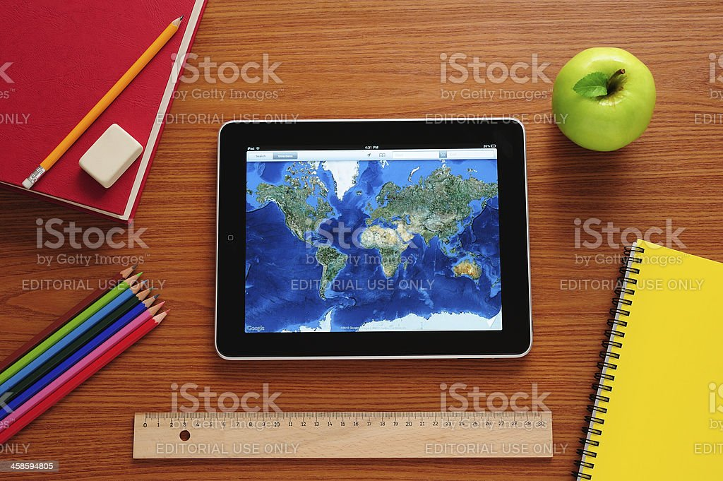 Learning geography with iPad stock photo