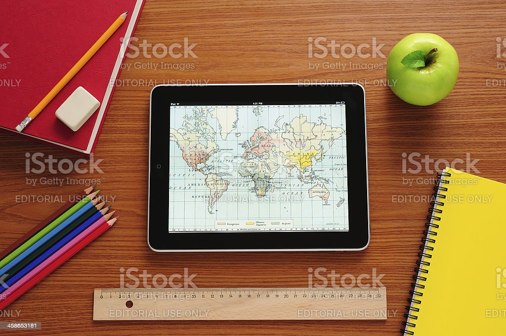 Learning history with iPad stock photo