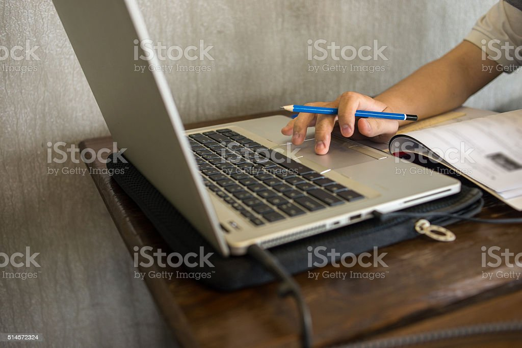 Learning how to improve skill on the Internet stock photo