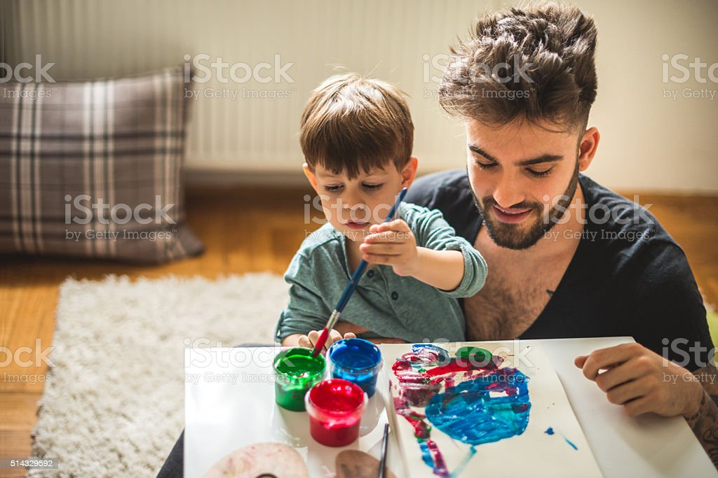 Learning how to paint stock photo