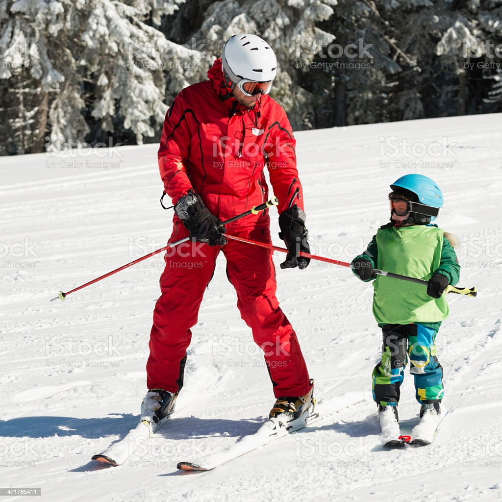 Learning how to ski royalty-free stock photo