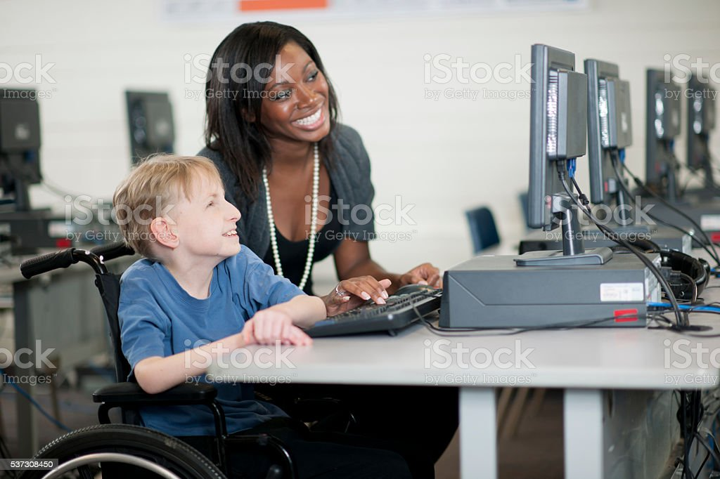 Learning How to Use a Computer stock photo