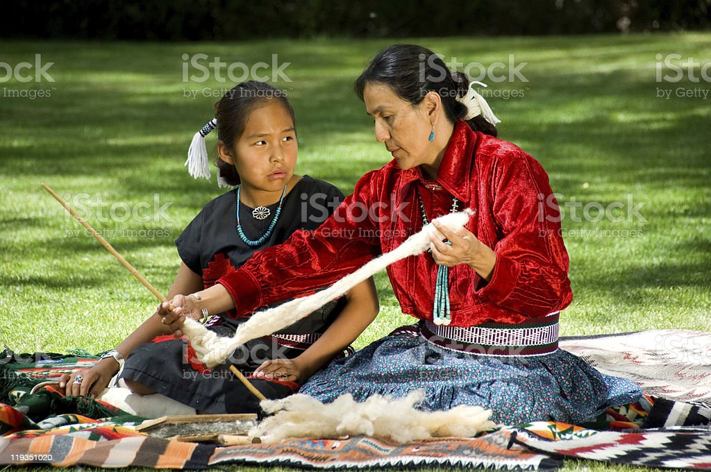 Learning how to weave stock photo