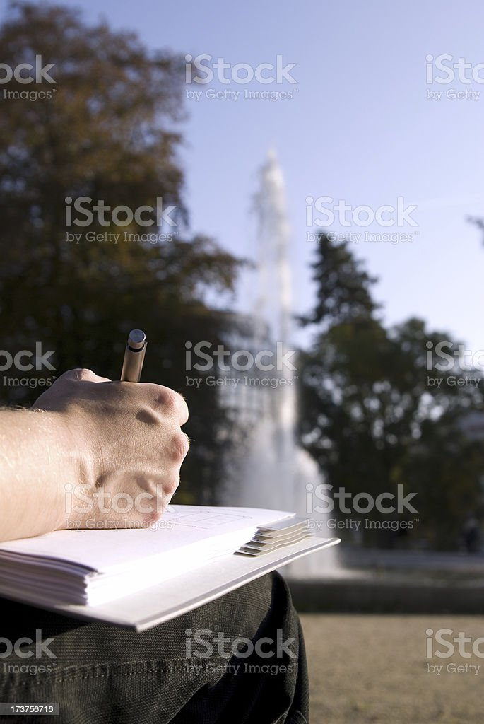 learning in the park stock photo