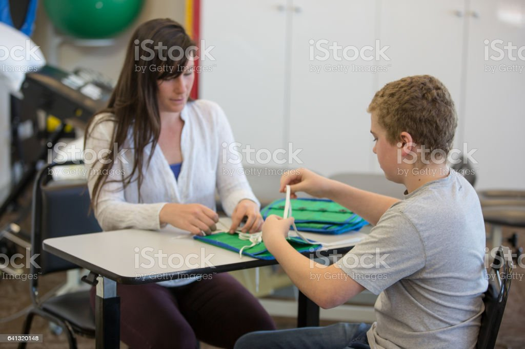Learning life skills together stock photo