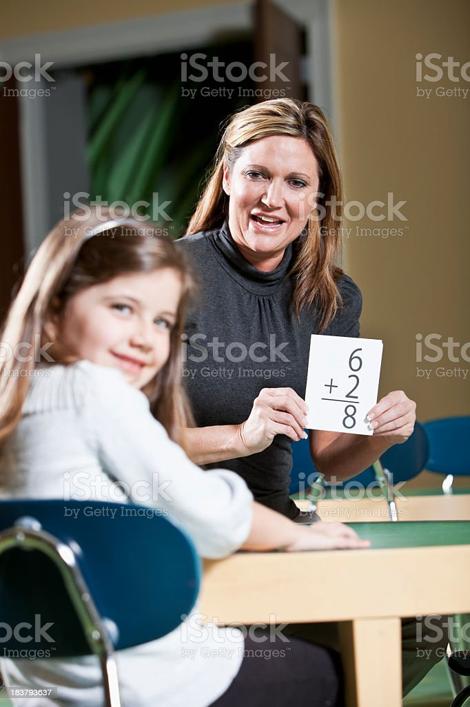 Learning math with flashcards stock photo