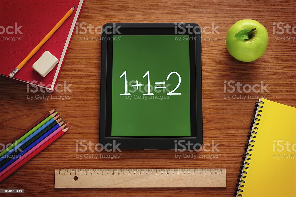 Learning Mathematics with tablet pc stock photo