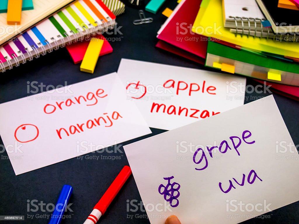 Learning New Language Making Original Flash Cards; Spanish stock photo