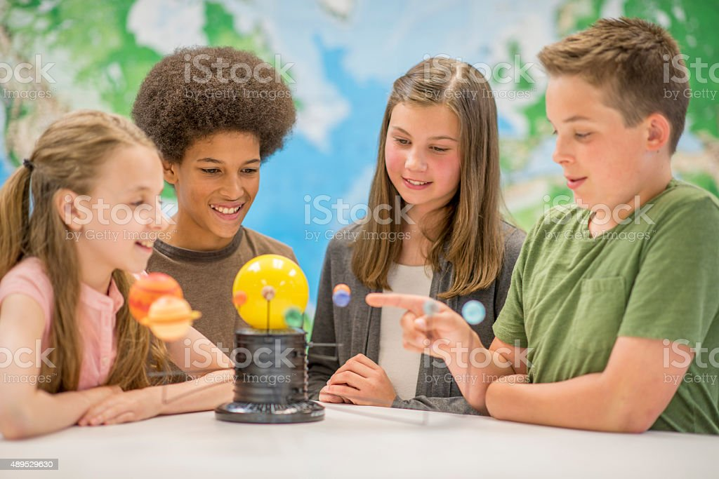 Learning Our Solar System stock photo