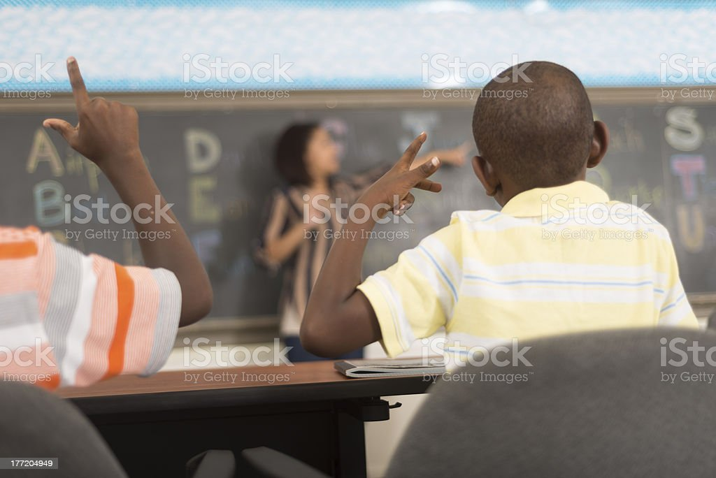 Learning Sign Language stock photo