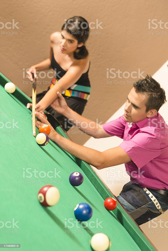 Learning snooker royalty-free stock photo