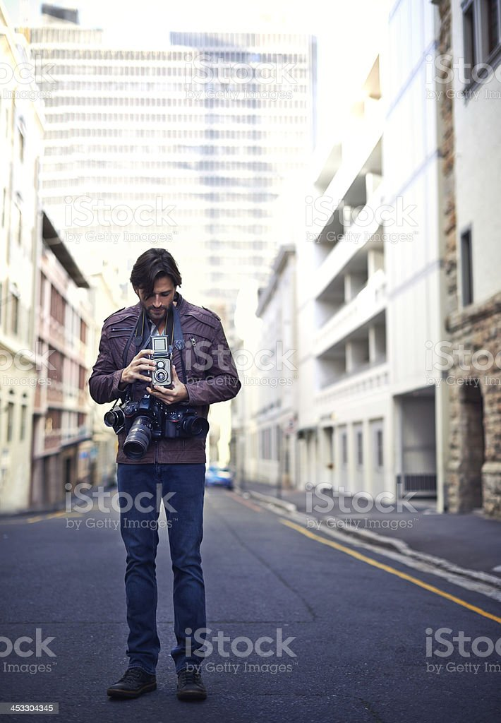 Learning the art of vintage photography stock photo