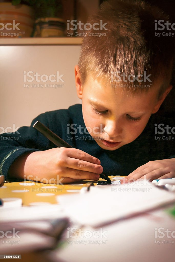 Learning to draw lines stock photo