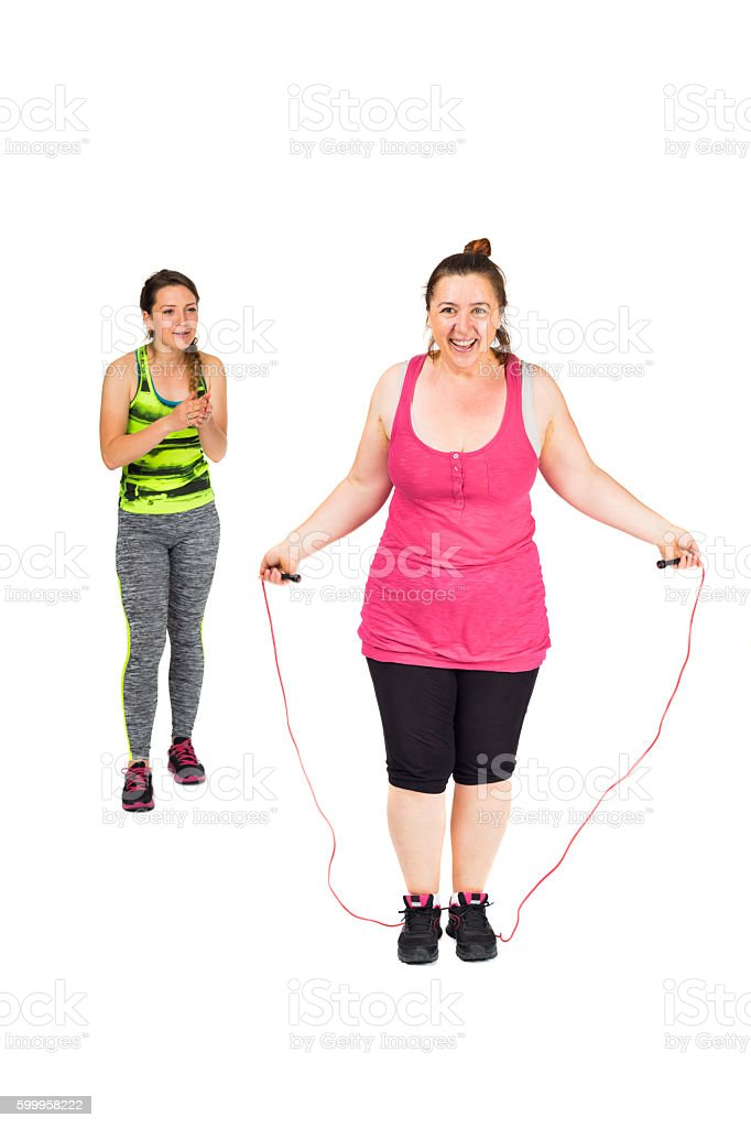 Learning to jump rope stock photo