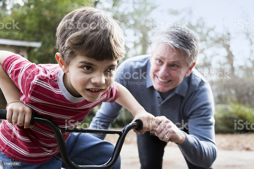 Learning to Ride a Bike royalty-free stock photo