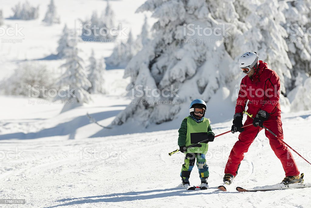 Learning to ski royalty-free stock photo