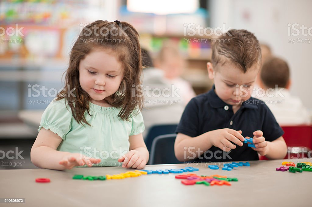 Learning to Spell with Letters stock photo