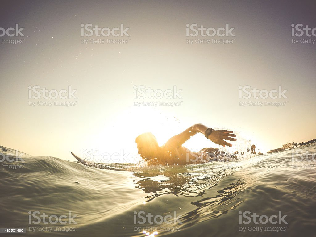 Learning to surf! stock photo