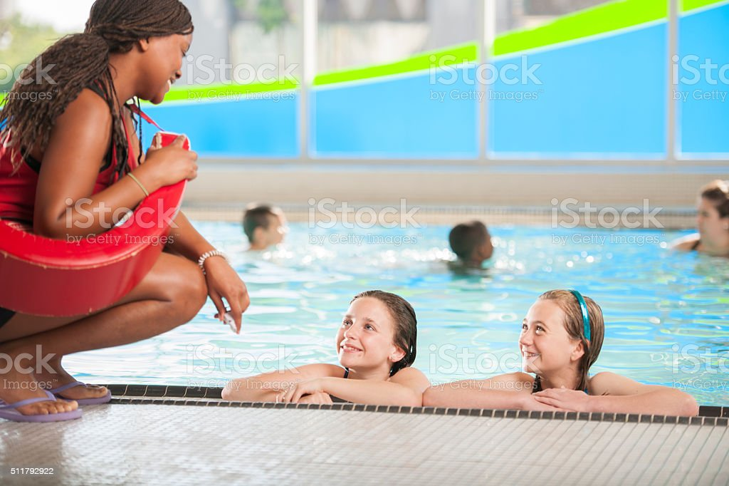 Learning to Swim from a Lifeguard stock photo