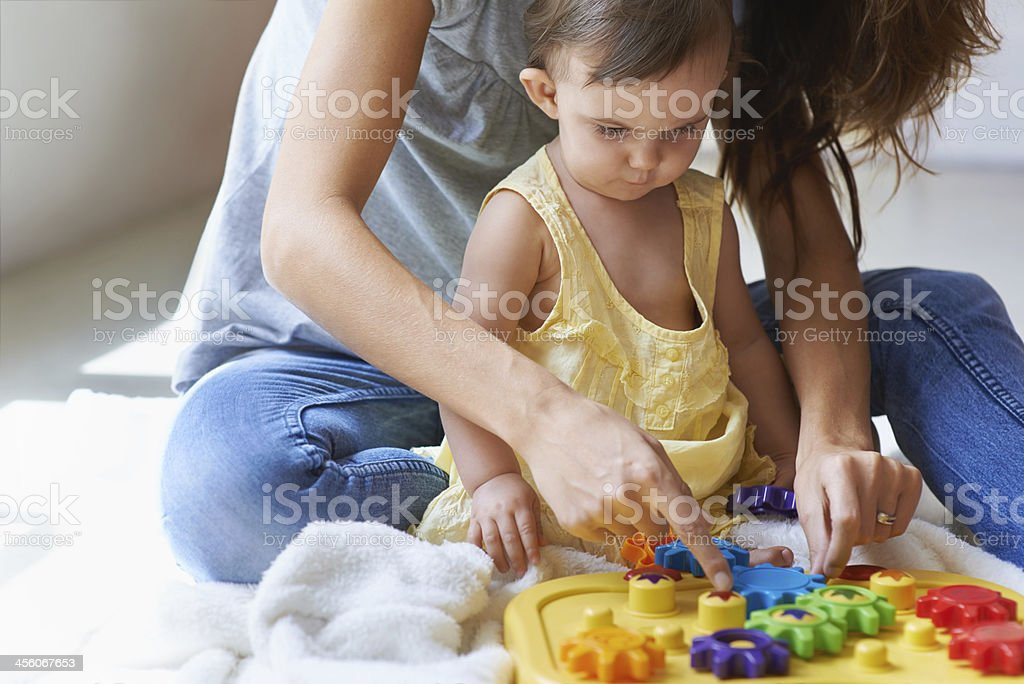 Learning with mom stock photo