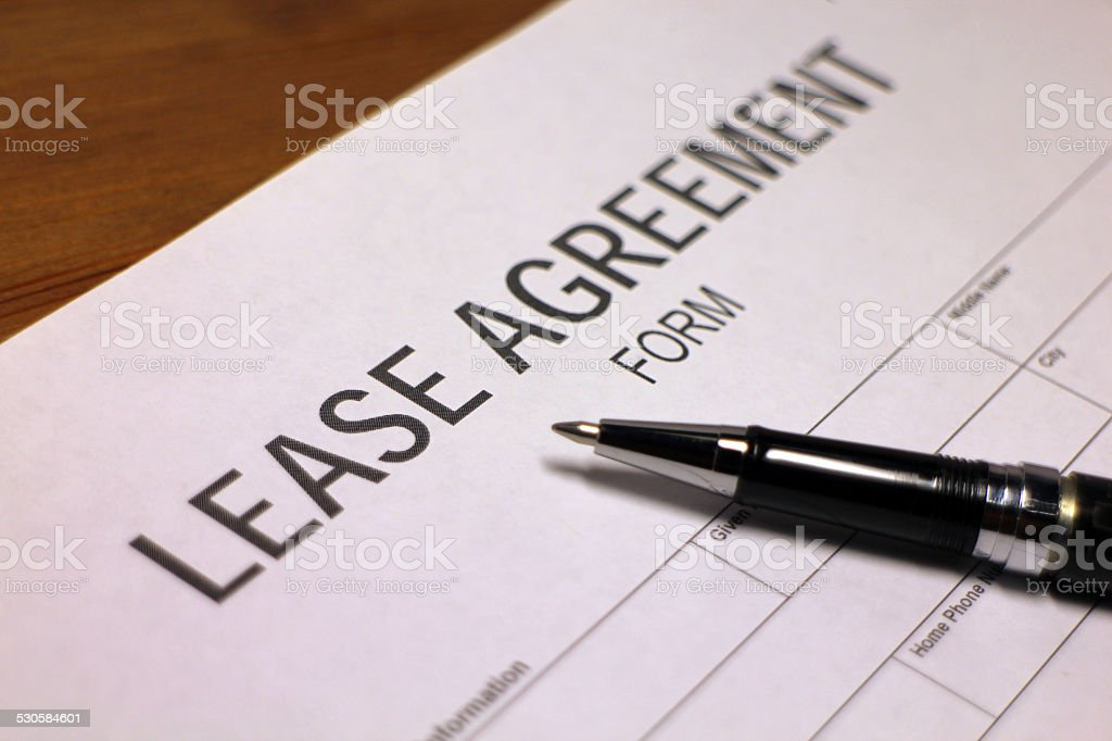 Lease Agreement Document stock photo