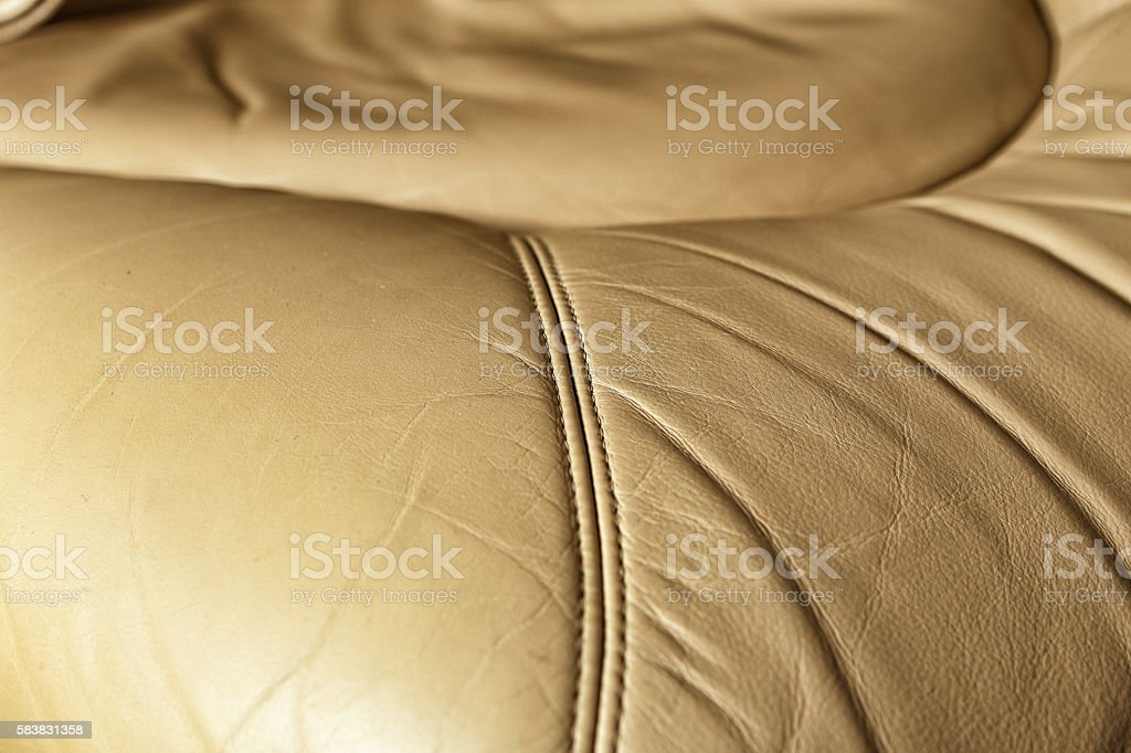 Leather aircraft seat surface detail stock photo
