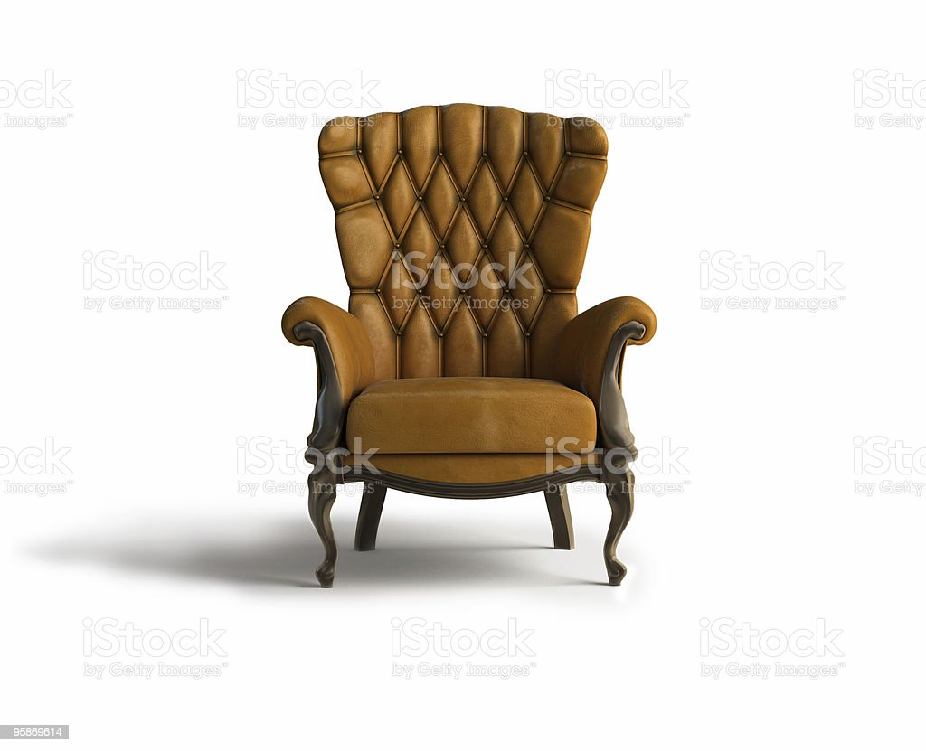 A leather armchair in the middle of an empty room  stock photo